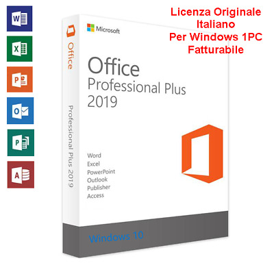 MS Office 2019 Professional Plus 32/64 Bit Licenza Originale Chiave Italiano