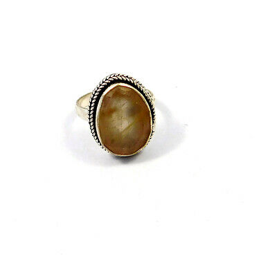 Golden Needle Rutile Stone Ring Size-7.50 Silver Plated Handmade Fashion JC9058