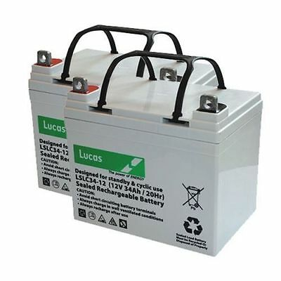 Pair of Lucas 34AH Batteries for Shoprider TE888NR Mobility Scooter  V