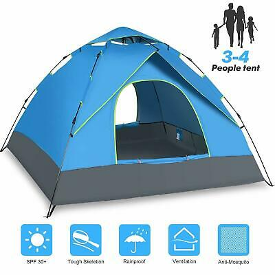 UK 3-4 Man Person Automatic Pop Up Tent Double Layer Camping Festival Waterproof