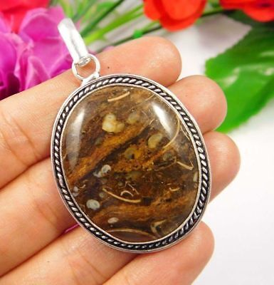 Gorgeous .925 Silver Plated Brown Rock Calcy Designer Pendant Gift JC3805