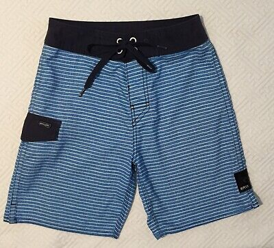 RIPCURL Boys Size 10 Board Shorts- Blue And White Striped- Excellent Condition
