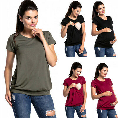 Woman Nursing Top Maternity Loose Breastfeeding T-shirt Clothes Short Sleeve AU