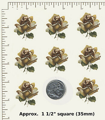 8 x Waterslide Ceramic decals Decoupage Rose Bronze Flower head Floral Roses G03