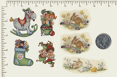 7 x Waterslide Ceramic decals Decoupage Christmas, Rabbits, Childrens themes R57