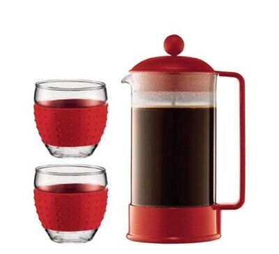 Bodum Brazil Set 8 Cup french Press Coffee Maker Gift Set Red NIB