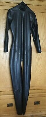 Chlorinated Black Latex Rubber Catsuit XL Shoulder entry