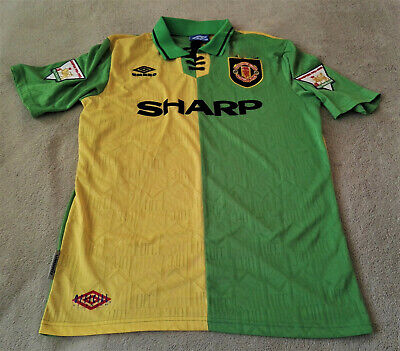 Manchester United 1992-94 Eric Cantona Yellow/Green Newton Heath Away Jersey XL