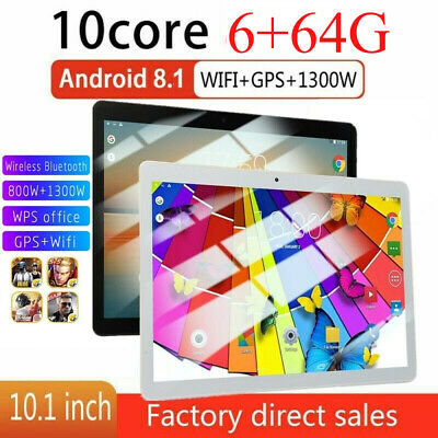 """10.1"""" Tablet PC 6G+64G 10Core Android 8.0 Dual SIM & Camera Wifi Phone Tablet"""