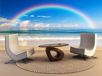 Wall Mural Decal Beautiful sea with a rainbow Photo Art Home Decor Print Poster