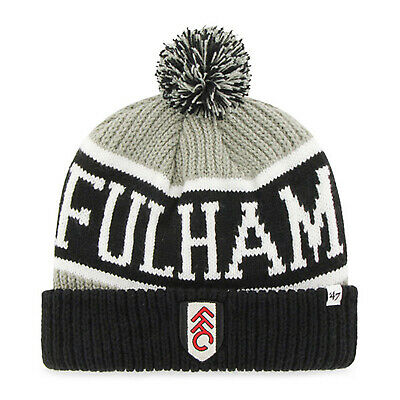 Fulham FC 47 Brand Official Football Gift Mens Knitted Bronx Bobble Hat