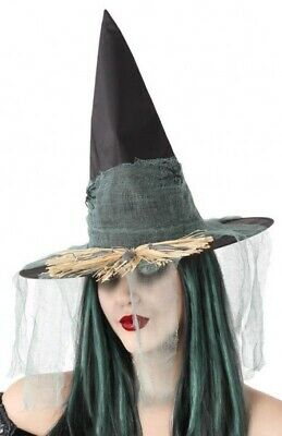 Ladies Bronze Halloween Witches Mini Hat with Veil Fancy Dress Costume Outfit