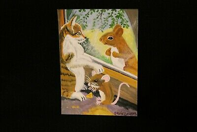 ACEO  original  painting art cat mouse  squirrel cheese window summer time