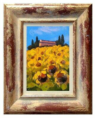 Italian Oil Painting Abstract Sunflowers Field Tuscany A.lomi Original Oil Italy