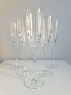 5 x Royal Doulton Crystal Linear Flute Champagne Glasses Signed Marked 23.5 cm H