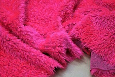 CURLY Teddy Faux Fur Fabric Material - CERISE PINK