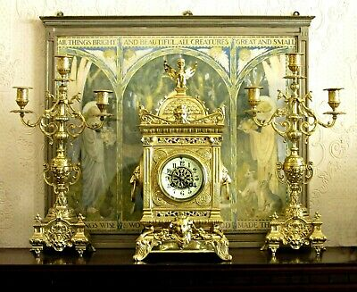 "Lg 17"" Antique Mougin Solid Brass Mantel Clock & Garniture Candelabras Griffins"