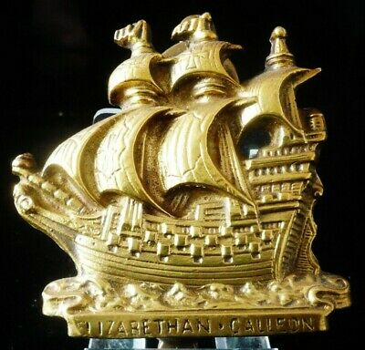 Antique Vintage Brass Door Knocker, Elizabethan Galleon
