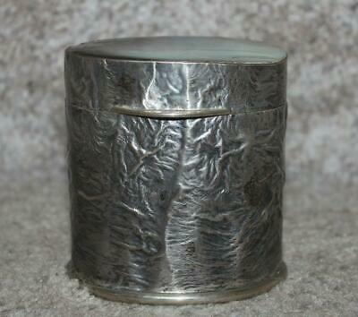 Antique .800 Silver Tea Caddy (?) Mother Of Pearl Top Unusual Textured Finish