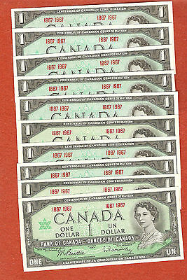 10 1867-1967 Canada Centennial One Dollar Bank Notes Gem Uncirculated E441