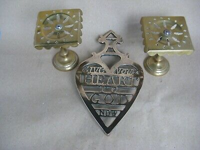 Brass miniature pair tilt top tables + Trivet  all Victorian