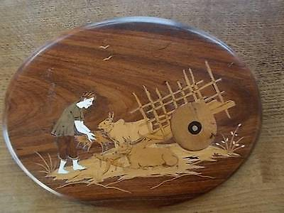 Handmade Inlaid Oriental Wooden Plaque Asian Man feeding hay to cattle Ox & Cart