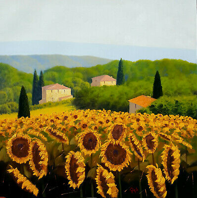 Big Italian Painting Sunflowers Field In Tuscany Countryside Original Oil Gigli