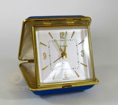 Vintage Europa Blue Cased Travel Alarm Clock