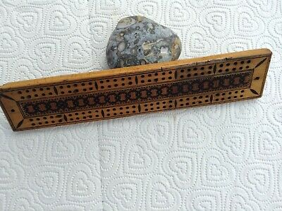 Antique 19th Century Tunbridge Ware Cribbage Board with Pegs in Compartment