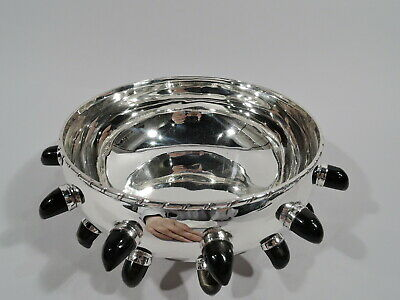Midcentury Modern Bowl - Mexican Sterling Silver & Obsidian - Tane