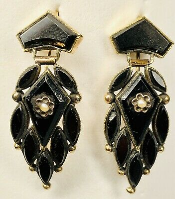 Antique 19th Century Victorian 14K Rose Gold Onyx and Seed Pearl Dangle Earrings