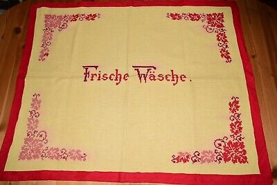 """Old Breast Pocket Handkerchief """" Fresh Laundry """" for Basket Red Embroidery Edge,"""