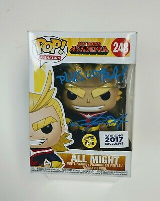 Signed Funko Pop Anime My Hero Academia - All Might Glow in the Dark Box Damaged