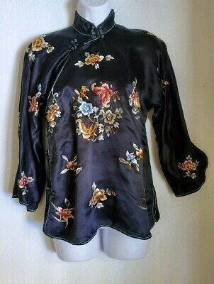 VINTAGE 1930's 40's WWII HAND EMBROIDERED CHINESE SILK CHEONGSAM BLOUSE JACKET
