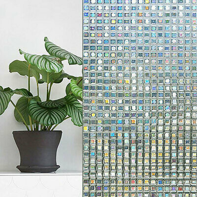 Static Cling Colorful Films Square Stained Glass Mosaic Decor Drop Door Window