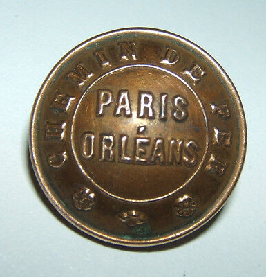 Knopf Golden Chemin De Fer Paris Orleans - 22 mm - Fab a. S. Paris