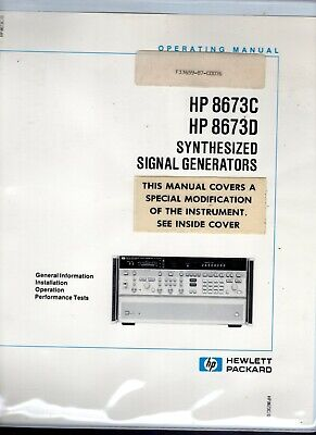 Hewlett Packard HP 8673C 8673D Synthesized Signal Generators Operating Manual