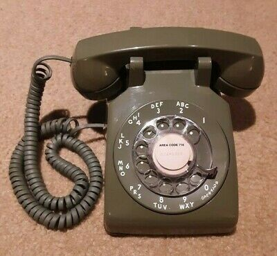 Vintage Telephone Rotary Dial Western Electric Bell Avocado Desk Style