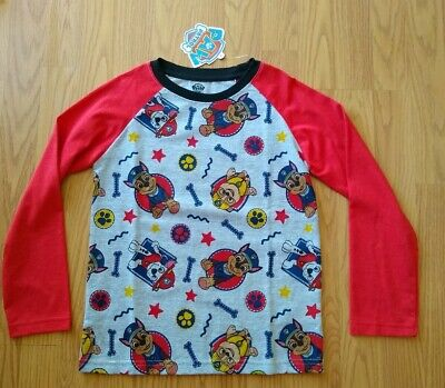 Paw Patrol Boys Shirt Size 7 Long Sleeve Marshall Chase Rubble Pups Dogs LS NEW