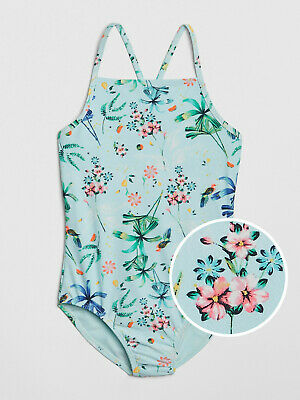 NWT Gap Kids Girls Tropical Floral One Piece Swimsuit M Medium