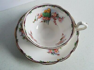 Royal Albert Crown China Birds Cup and Saucer Set Vintage