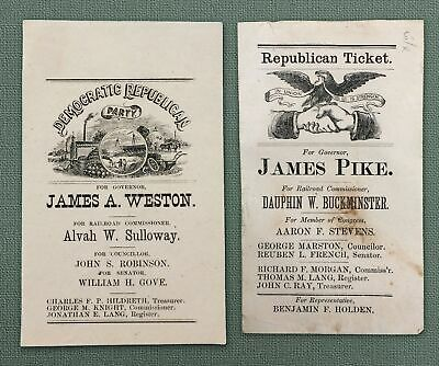 1871 CAMPAIGN TICKETS NEW HAMPSHIRE GOVERNORS BATTLE- JAMES WESTON vs JAMES PIKE