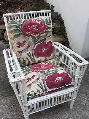 Vintage Antique White Wicker Chair With Hassock Handcrafted Nj Pickup