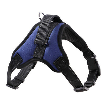 Dog Harness For Large Medium Dogs Adjustable Reflective Harnesses Blue&XL M0Y8
