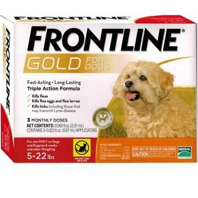 FRONTLINE GOLD for Small Dogs 5-22 Lbs 3 PACK, New 2020 Exp  FREE SHIPPING !!!