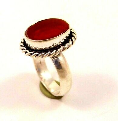 A++ Charming Garnet Silver Designer Jewelry Ring Size 7.25 JC6260