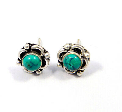 Turquoise .925 Silver Plated Handmade Stud Earring Jewelry JC8124