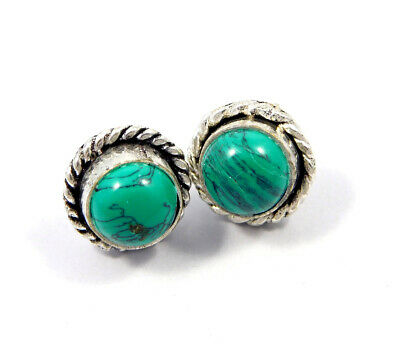 Turquoise .925 Silver Plated Handmade Stud Earring Jewelry JC8179