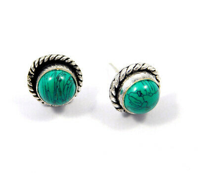Turquoise .925 Silver Plated Handmade Stud Earring Jewelry JC8152