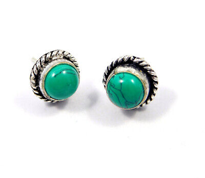 Turquoise .925 Silver Plated Handmade Stud Earring Jewelry JC8115